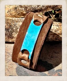 Women's Turquoise Copper Enamel leather cuff brown and by TornTo, $54.00