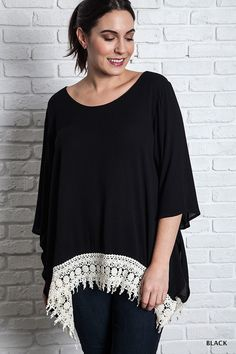 049781f3642 Plus Size Oversized Lace Trimmed Tee Black Lace Tops