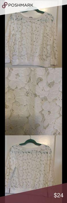 """BB Dakota lace sweatshirt Great BB Dakota white lace sweatshirt.  Unlined, nylon/cotton fabric.  20"""" at bust, 20"""" long. BB Dakota Tops Sweatshirts & Hoodies"""