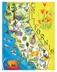 "Printable Map Of California | Map of California"" art print by Scrappers 