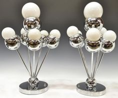 (pair) Italian mid-century modern chromed steel table lamps, by Torino Designs #MidCenturyModernLighting