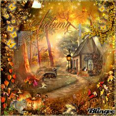 "Autumn cottage | This ""amon autumn cottage"" picture was created using the Blingee free ..."