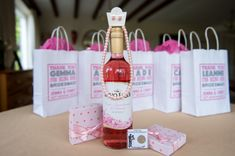 These bridesmaid gift bags were the perfect pink treat on the wedding morning.