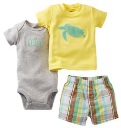 """Carter`s 3-piece """"MOMMY`S LITTLE HUNK"""" Turtle Tee, Bodysuit, & Shorts Set $14.40 (save $9.60)"""