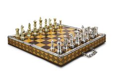 A silver and silver-gilt chess set, probably South American, 20th century in a hinged silver-mounted fitted case with a key, the top inlaid with a chessboard chess pieces marked 925, case mounted with a silver-gilt plaque with maker's mark