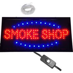 "Bright Animated Smoke Store Tobacco Mart Head Shop Cig LED Open Sign 19x10"" neon #AhhaProducts"