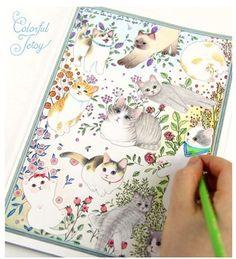 80 páginas (40 folhas) gato bonito dos desenhos animados livro de colorir para aliviar o stress de matar tempo de graffiti pintura livro de desenho 80 páginas