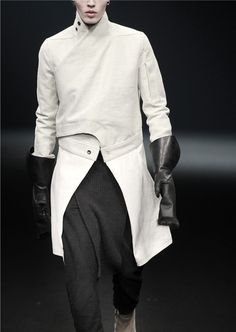 Rick Owens AW 10...mens white wrap over front jacket
