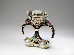 Claudio Pino. Ring: Mystical Flowering. 14k gold, opal, diamonds, moonstone, ruby, pearls, sleeping beauty turquoise. Two Fingers Ring.
