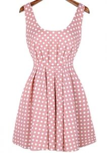 Pink Sleeveless Backless Polka Dot Dress