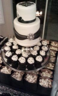 Fresno wedding cakes, cupcakes, cake pops, birthday cakes   Black and White Dessert Table   Frosted Cakery