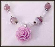 Pink Rose Necklace Beaded Flower Jewellery by SalemAndKookiDesigns