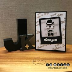 Dapper Father's Day Hero Arts Dapper Dad Photopolymer, Hero Arts White embossing Powder, Lawn Fawn Say Cheese Lawn Cut.