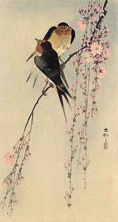 """Two Birds on Branch"" Huge Japanese Art Print by Koson Asian Art Japan 