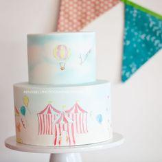 hand painted circus cake