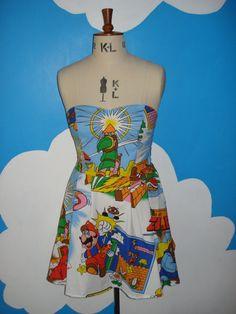 retro mario and zelda sweet heart dress - all size