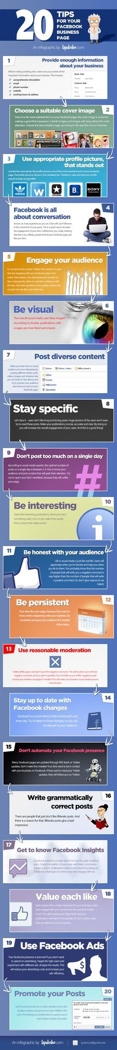 20 Facebook Tips to Enhance Your Page Presence [Infographic]  Good tips for your Facebook page.