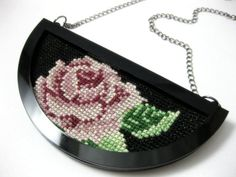 Embroidered+contemporary+necklace++rose+statement+by+anmarkdesign,+$34.00