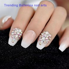 CoolNail Bling Glitter Pink Nude French Ballerina Coffin False Fake Nails Gradeint Natrual Press on Daily Office Finger Wear UV Nails *** You can get additional details at the image link. (This is an affiliate link) Rhinestone Nails, Bling Nails, Red Nails, Glitter Nails, Mauve Nails, Fall Nails, Pink Acrylic Nails, Acrylic Nail Designs, Ombre French Nails