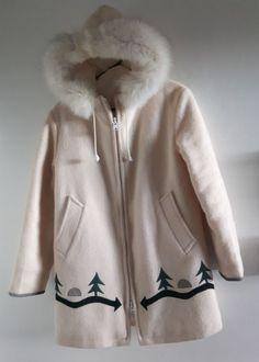67f5649a9b5e Vintage Hudson s Bay HBC Wool Point Trade Parka sz Small White Coat Blanket   HudsonsBayCompany