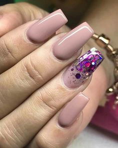 Naked acrylic nails with purple confetti- Naked acrylic nails with purple confetti - Nude Nails, Nail Manicure, Pink Nails, My Nails, Confetti Nails, Dipped Nails, Luxury Nails, Best Acrylic Nails, Nagel Gel