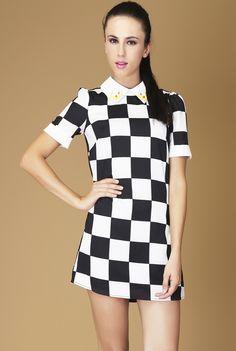 Black White Plaid Short Sleeve Back Zipper Dress