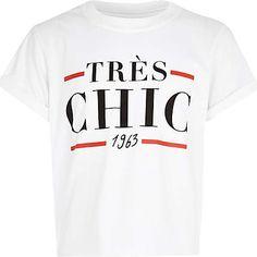 Girls white Tres Chic 1963 print t-shirt £8.00