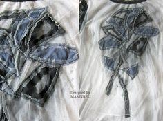 White Boho Chic Top T-shirt Recycled Upcycled от MARTINELI на Etsy