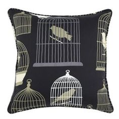 Cotton pillow with a birdcage motif. Made in the USA.  Product: PillowConstruction Material: Cotton and polyester fillColor: MultiFeatures:  Insert includedMade in the USA