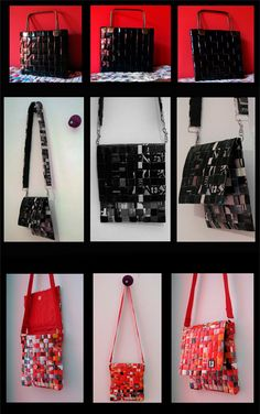 Timbre 3 - Resurgir, Recrear. carteras de papel trenzado Diy Clutch, Newspaper Crafts, Candy Wrappers, Recycled Fashion, Candy Bags, Diy And Crafts, Upcycle, Recycling, Challenges