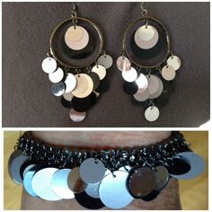 "SET:  Black/Silver Elastic Bracelet & Earrings STYLISH!  Black and silver colored discs dangling from a gunmetal colored elastic bracelet.  AND Matching dangly earrings (3-1/2"" drop x 2"" wide). Jewelry Earrings"