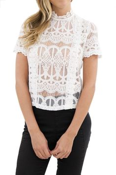 Talia Short Sleeve Crochet Lace Top - White