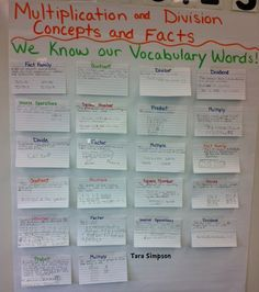 Math Vocabulary Poster