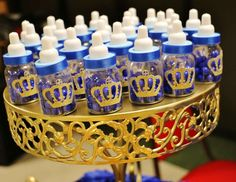 Baby bottle favors at a royal prince baby shower party! See more party planning… Baby Shower Cakes, Royal Baby Shower Theme, Baby Shower Photos, Baby Shower Princess, Boy Baby Shower Themes, Baby Shower Favors, Shower Party, Baby Shower Parties, Baby Boy Shower