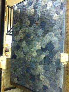 rug made out of jean pockets
