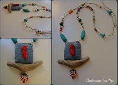 Long driftwood necklace. Boho necklace. Ethnik neclace. Coral necklace
