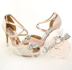 Badgley Mischka Wedding Shoes. Our newest arrival Cacique - a vintage bridal shoe with modern day bling. Available in ivory & blush. Shown with our Casablanca Tiara by Justine M. Couture.