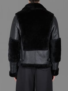 YANG LI DOUBLE FACE MEN AVIATOR JACKET WITH SHEARLING INSERTS AND ZIPPED POCKETS