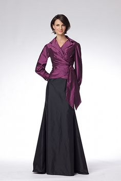 C20 Watters (Dress 8658): Plumberry tissue taffeta, long sleeve wrap top with cuff sleeves and crystal buttons. Nightshade tissue taffeta floor length trumpet skirt. Available with tissue taffeta top with knee length, pencil skirt style 8654. Available with tissue taffeta top with floor length, a-line skirt style 8656.