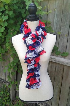 Patriotic Scarf  Red White Blue Scarf  Knitted Scarf