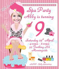 Spa Birthday Party by PartyPhotoInvites Girls Birthday Party Themes, Spa Birthday Parties, 7th Birthday, Birthday Ideas, Kids Spa Party, Pamper Party, Spa Party Invitations, Birthday Invitations, Childrens Party