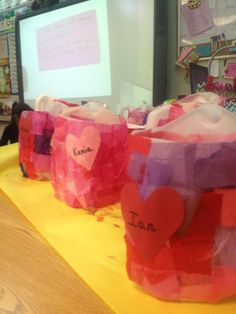Valentines Day Baskets for cards using Milk Jugs, Glue Water, and Tissue Paper Squares. #diy #milkjugs