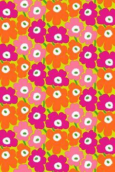 Pieni Unikko 2 cotton fabric by Marimekko Textiles, Textile Prints, Textile Patterns, Textile Design, Fabric Design, Pretty Patterns, Flower Patterns, Flower Designs, Color Patterns