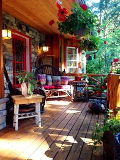 Colourful rustic outdoor bohemian country porch Architectural Landscape Design