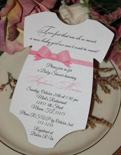 Baby Shower Invitation for Girl Elegant Bow Sash Bow Color Can Change $1.10
