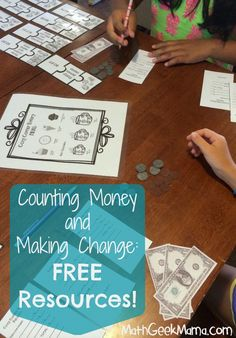 Summer Math Camp: All about money! Fun ideas to get kids using money to do math, and FREE printables!