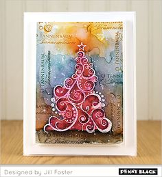 Create this watercolored card using Penny Black stamps and Distress markers---VIDEO TUTORIAL on our blog