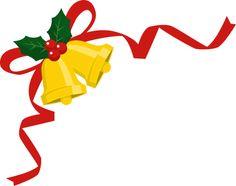クリスマスベルと柊を飾ったリボンのコーナーフレーム飾り枠イラスト