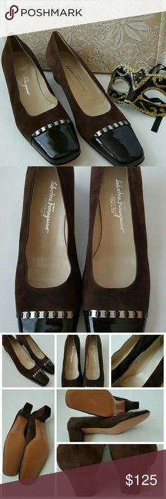 """New Salvatore Ferragamo Brown Suede Pumps New. Authentic Salvatore Ferragamo never worn (only stored a couple of scuff marks from moving). Musk brown suede and dark brown patent leather pump. Featuring a boxed toe with silvertone hardware,  slip on style, brand embossed insole and low heel. Size 10 2A Narrow. 2"""" heel. No box. Take these pumps from the office to a girls night out. Please review all photos as a part of the description. Salvatore Ferragamo Shoes Heels"""