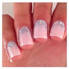 Pink nails with silver holo glitter nail art half moons